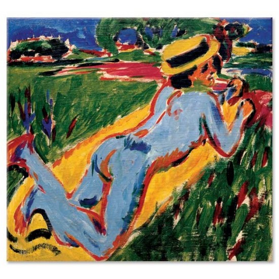 Ernst Ludwig Kirchner - Reclining Blue Nude in a Straw Hat, 1909