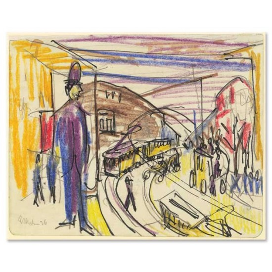 Ernst Ludwig Kirchner - Big city street with trams, 1926