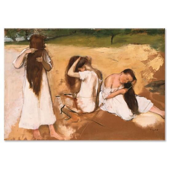נשים מסרקות את שערן