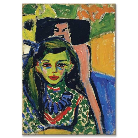 Ernst Ludwig Kirchner - Fränzi in front of Carved Chair - 1910