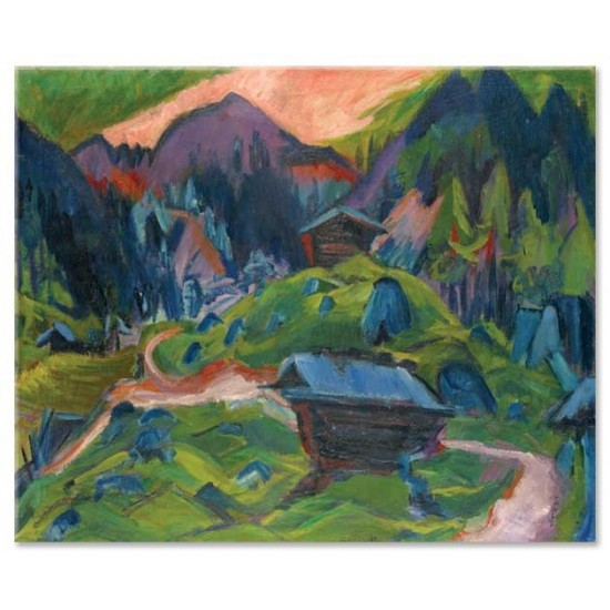 Ernst Ludwig Kirchner - Kummeralp Mountain and Two Sheds, 1920
