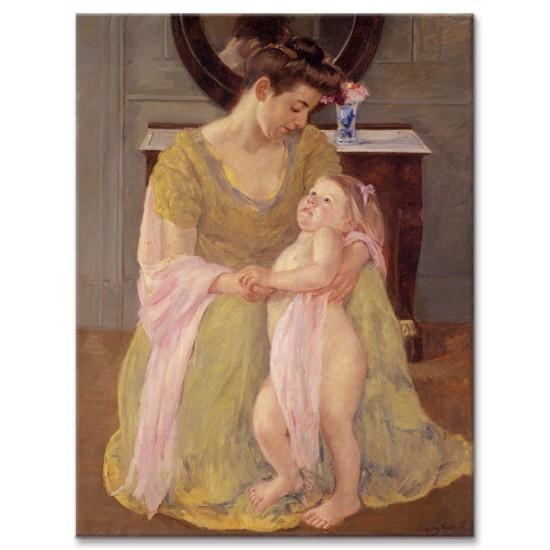 אישה וילד עם צעיף ורוד