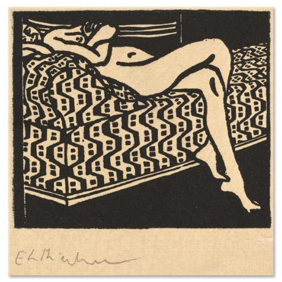 Ernst Ludwig Kirchner - Nude Girl Lying on a Sofa, 1905