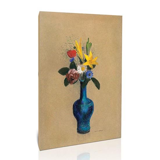 זר פרחים באגרטל כחול