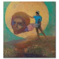 דמות מחזיקה בראש של מלאך