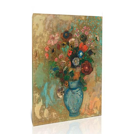פרחים באגרטל כחול