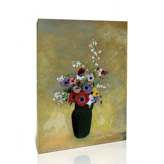 אגרטל ירוק גדול עם פרחים מעורבים