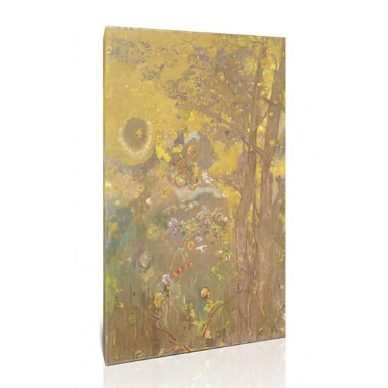 עצים על רקע צהוב