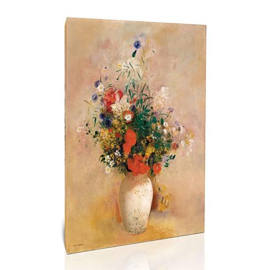 אגרטל פרחים (רקע ורוד)