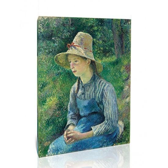 נערה איכרה עם כובע קש