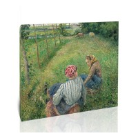שתי נשים צעירות נחות בשדה ליד פונטואז