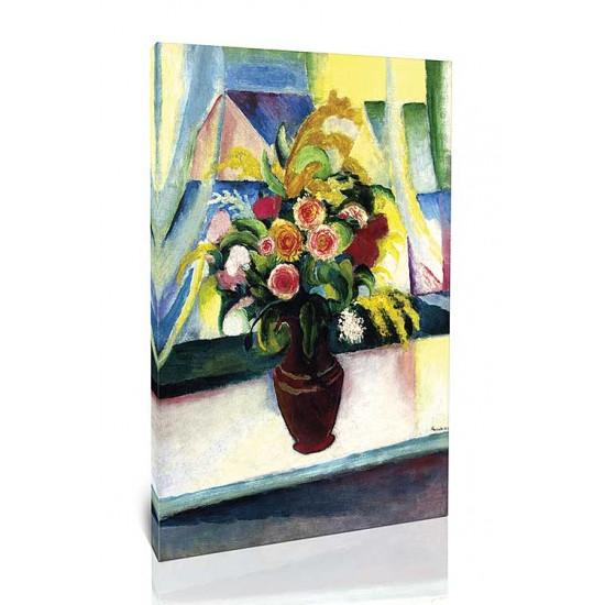 זר פרחים מול החלון