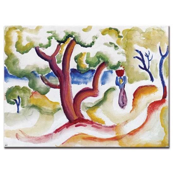 אישה עם כד תחת עצים