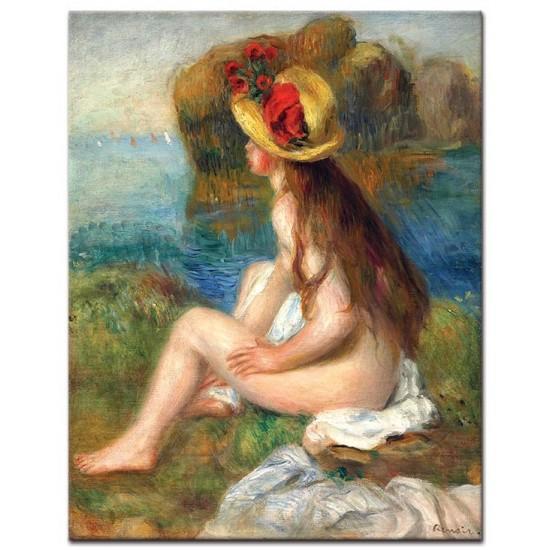 בחורה עירומה בכובע קש