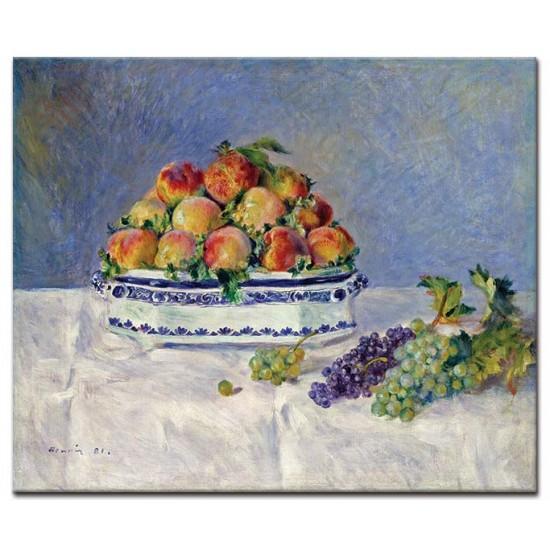טבע דומם - אפרסקים וענבים