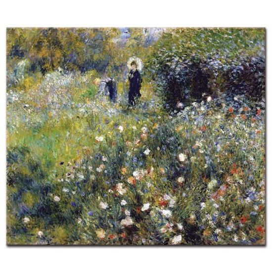 אישה עם שמשיה בגינה