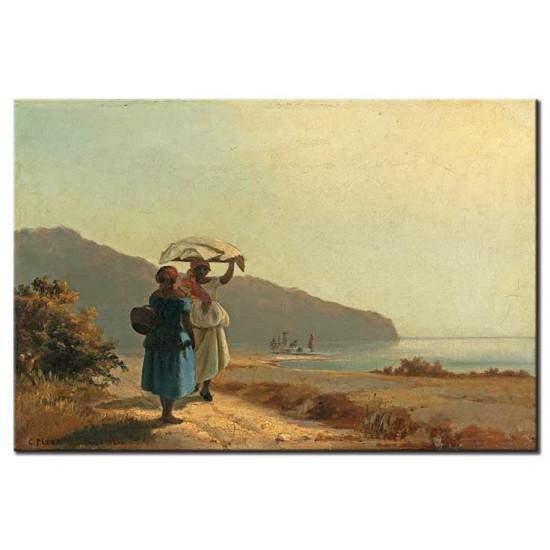 שתי נשים משוחחות ליד הים, סנט תומאס
