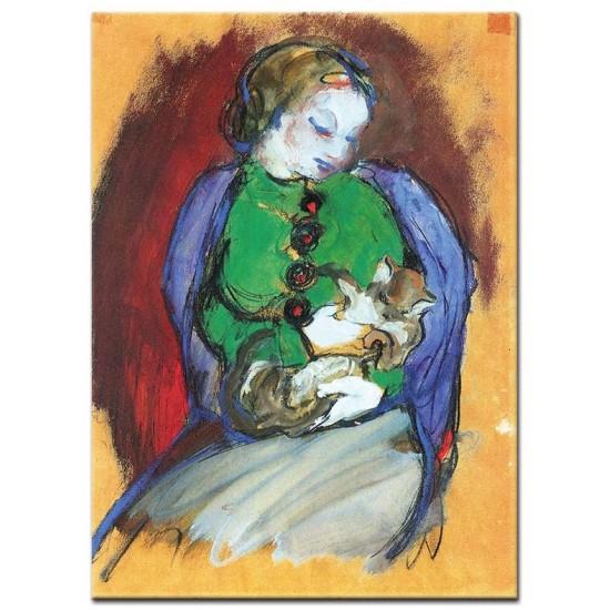 נערה עם חתול