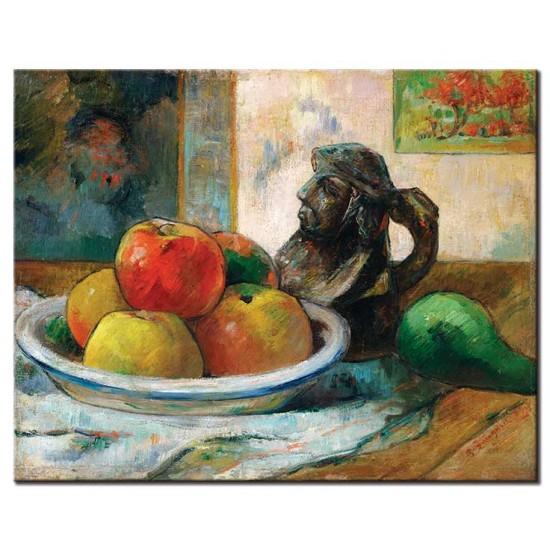 טבע דומם עם תפוחים, אגס וקנקן