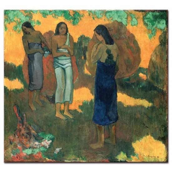 שלוש נשים מול רקע צהוב